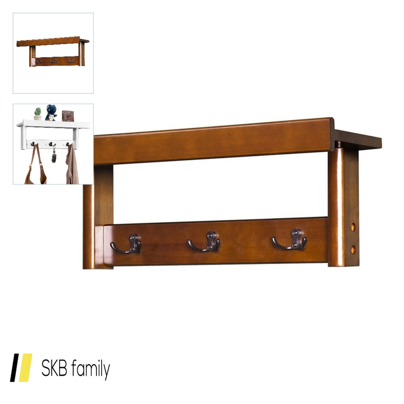 Entryway Hanging Wood Coat Rack With 3 Double Hooks 200815-22422