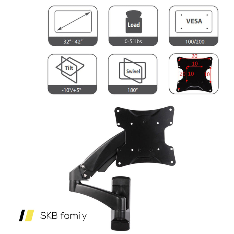 51 Lbs Tv Wall Mount Hydraulic Arm Adjustable Monitor Bracket 200815-22495