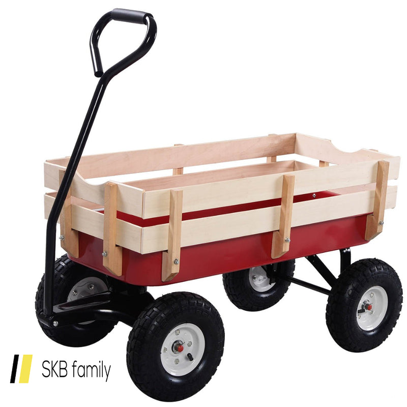 Outdoor Pulling Garden Cart Wagon With Wood Railing 200815-22675