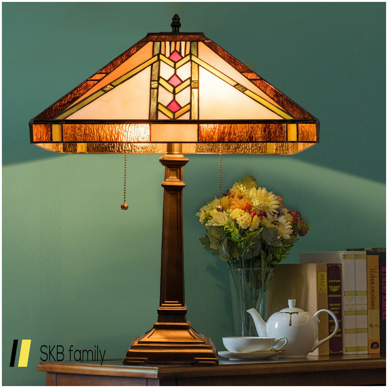 "Tiffany-Style 2-Light Table Lamp W/ 16"" Glass Lampshade 200815-22682"