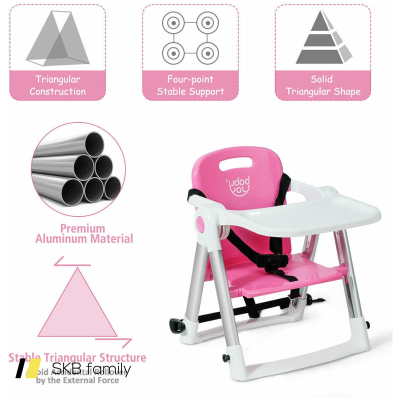 Baby Booster Folding Travel High Chair With Safety Belt & Tray 200815-22684