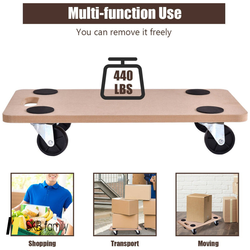 440 Lbs Platform Dolly Rectangle Wood Utility Cart 200815-22704