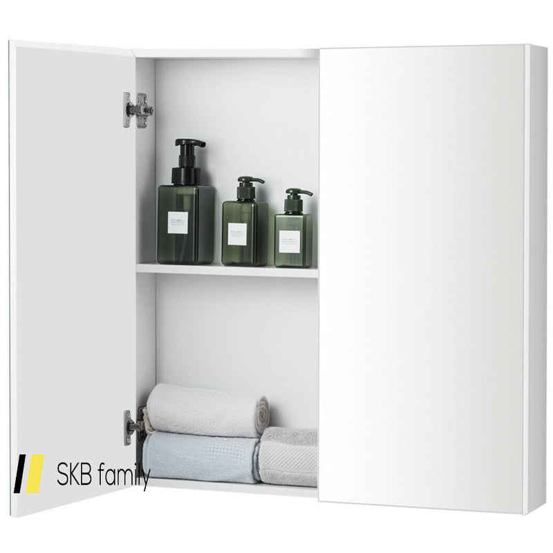 2-Tier Wall-Mounted Storage Cabinet With Double Mirror Doors 200815-22722