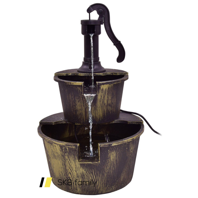 2 Tiers Outdoor Barrel Waterfall Fountain With Pump 200815-22733