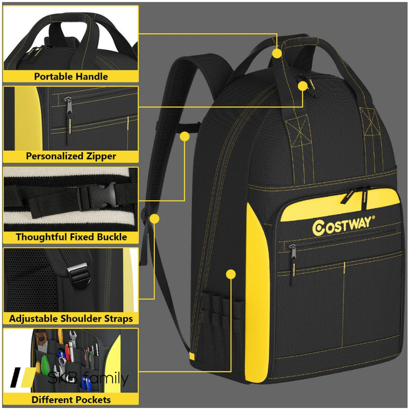 Tool Backpack Heavy Duty Jobsite Tool Bag 48 Pockets 200815-22756