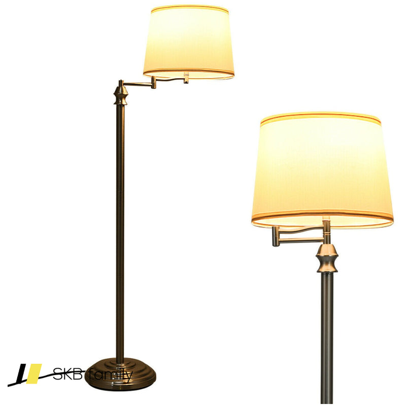 Swing Arm Led Floor Lamp With Hanging Fabric Shade 200815-22775