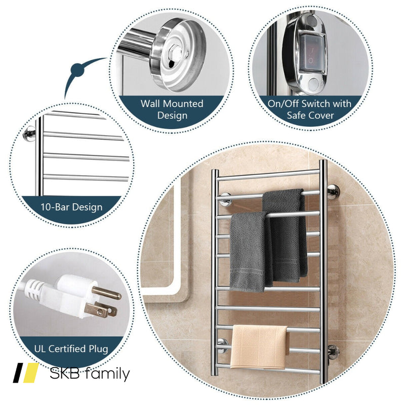 10-Bar Electric Stainless Steel Towel Warmer 200815-22794