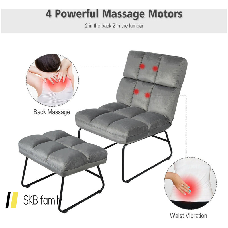 Electric Velvet Massage Chair With Ottoman & Remote Control 200815-22802