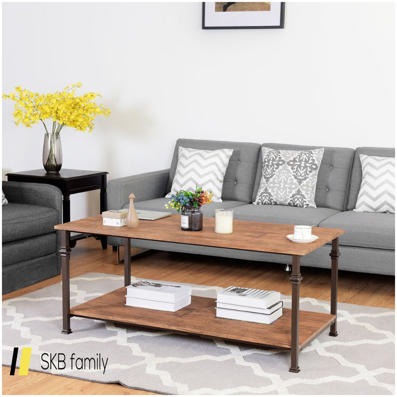 2 Tier Living Room Accent End Coffee Table With Storage Shelf 200815-22820