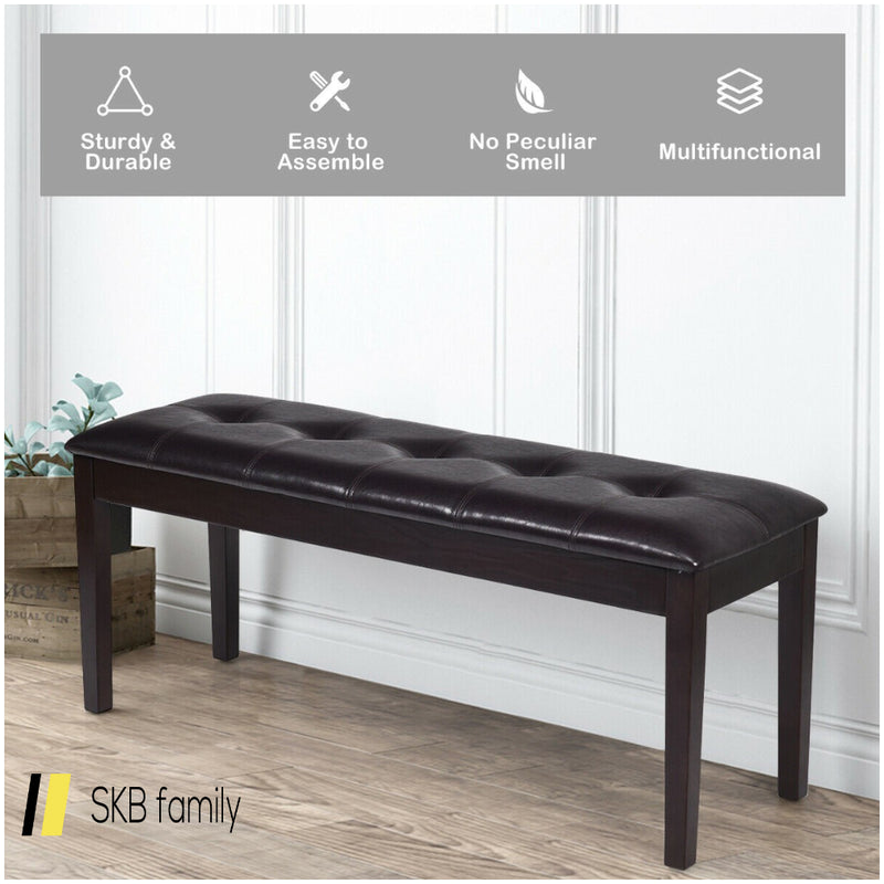 Upholstered Dining Room Pu Bench Solid Wood Button Tufted 200815-22830