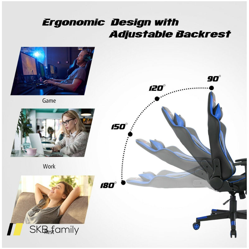 Massage Gaming Chair With Lumbar Support And Headrest 200815-22831