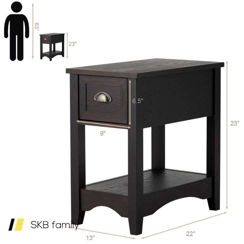 Set Of 2 Contemporary Side End Table With Drawer 200815-22843