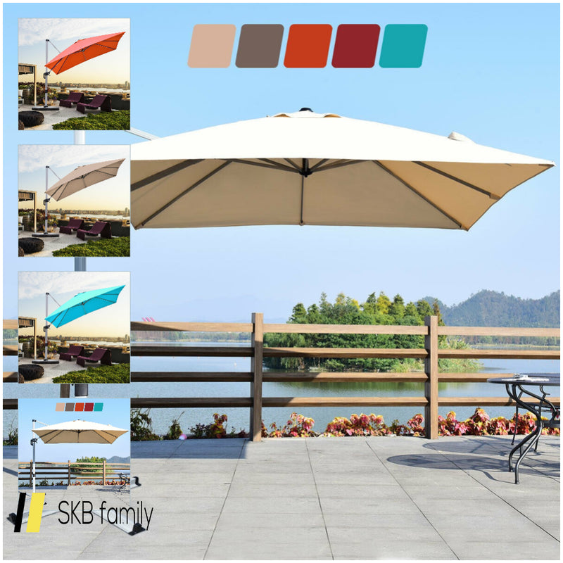 10 Ft 360 Degree Tilt Aluminum Square Patio Offset Cantilever Umbrella 200815-22850