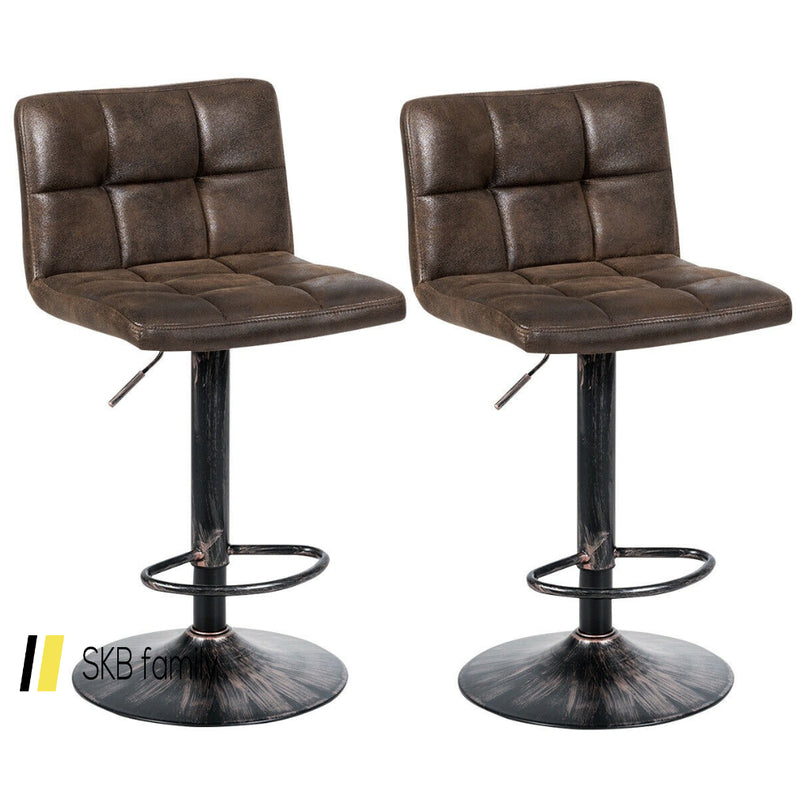 Set Of 2 Adjustable Swivel Counter Chairs With Footrest And Back Base 200815-22851