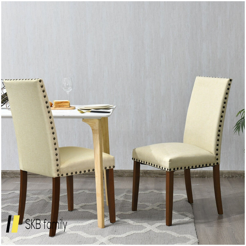 Set Of 2 High Back Armless Fabric Dining Chairs 200815-22854