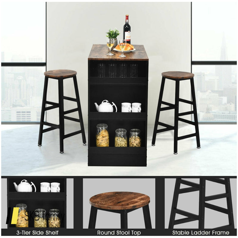 3 Pieces Bar Table Set With Storage 200815-22857