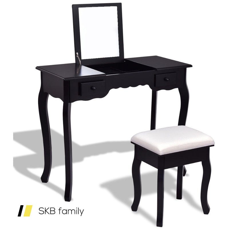 Mirrored Bathroom Dressing Vanity Table Set With Stool 200815-22869