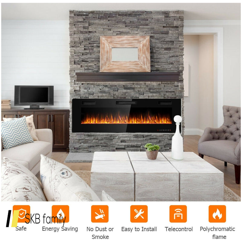 "60"" Recessed Ultra Thin Wall Electric Fireplace 200815-22874"