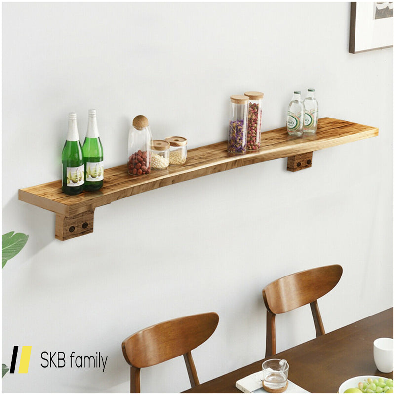 "60"" Wall Shelf Wood Floating Shelf Wall Mounted Storage Rack 200815-22891"