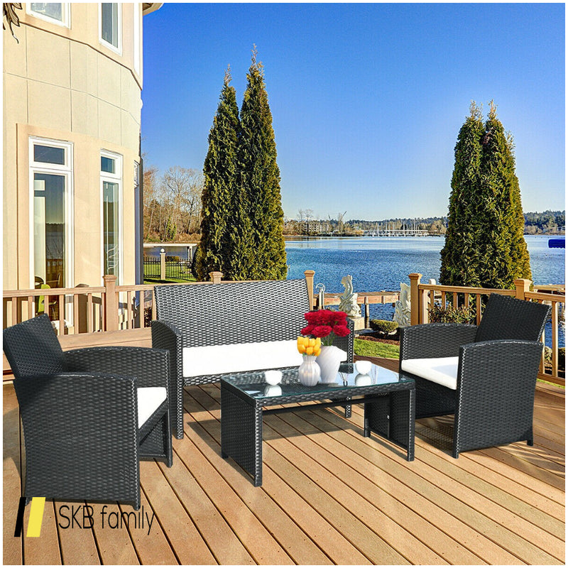 4 Pcs Wicker Conversation Furniture Set Patio Sofa And Table Set 200815-22944
