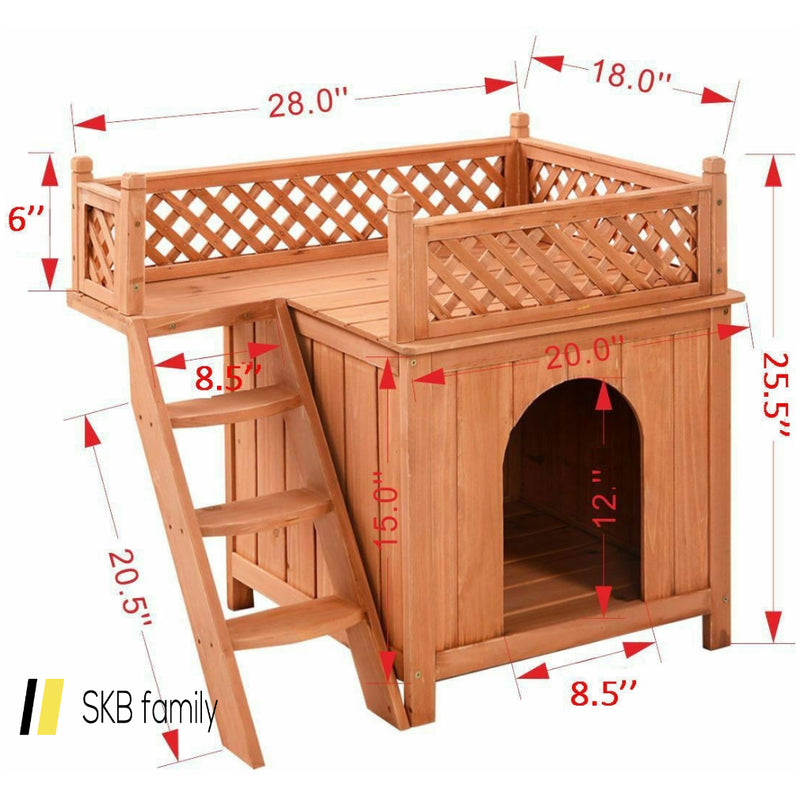 Outdoor Weather Resistant Wooden Puppy Pet Dog House 200815-22949