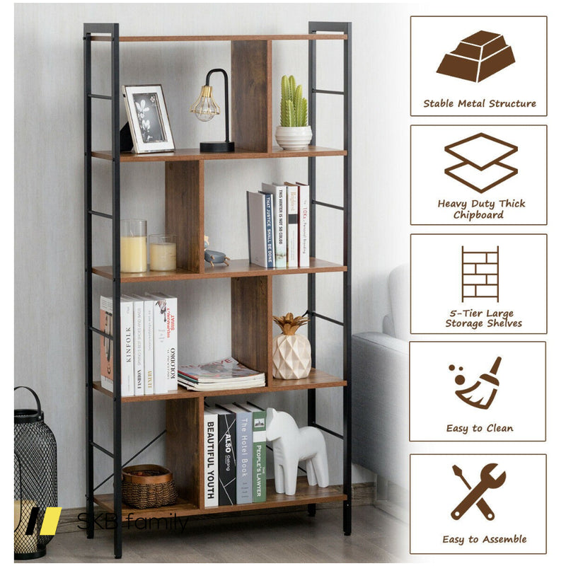 4-Tier Industrial Bookshelf Floor Standing Storage Rack Large Storage 200815-22972