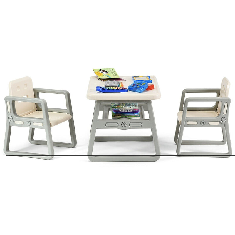 Kids Table And 2 Chairs Set With Storage Shelf 200815-22984