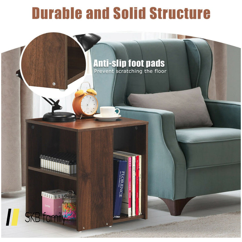 2 Shelf Side End Table With Open Storage Shelves 200815-22988