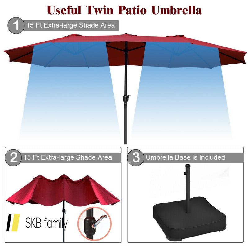 15 Ft Patio Umbrella Outdoor Umbrella With Crank & Base 200815-22997