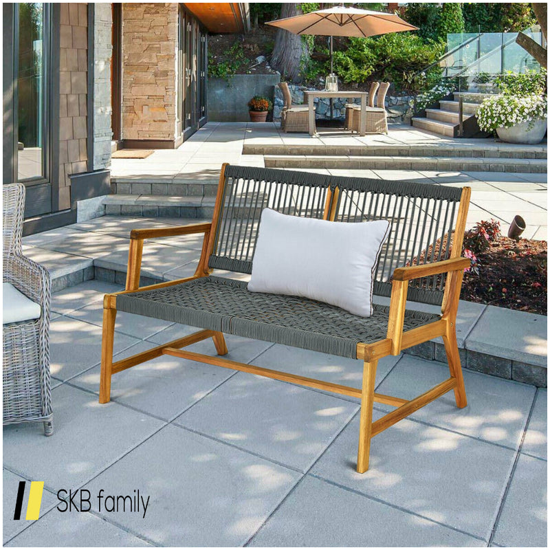 2-Person Patio Acacia Wood Yard Bench 200815-23021