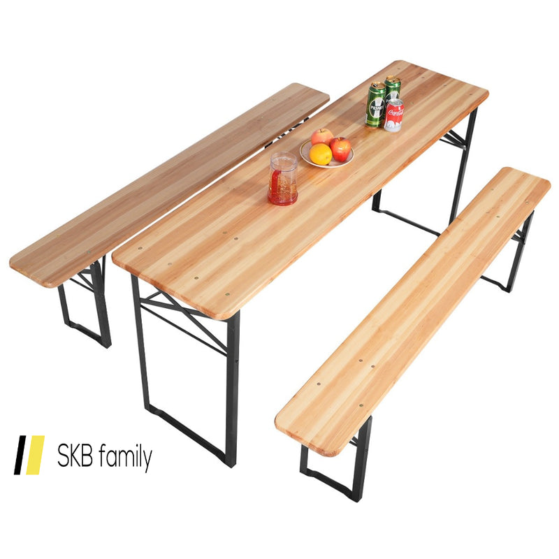 3 Pcs Folding Wooden Picnic Table Bench Set 200815-23033