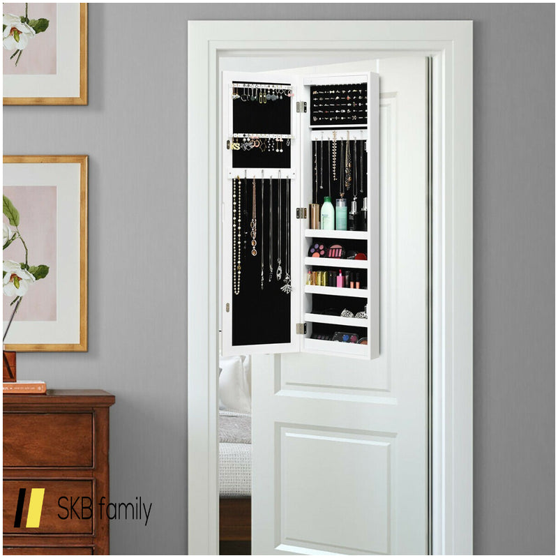 Wall And Door Mirrored Jewelry Cabinet With Led Light 200815-23041