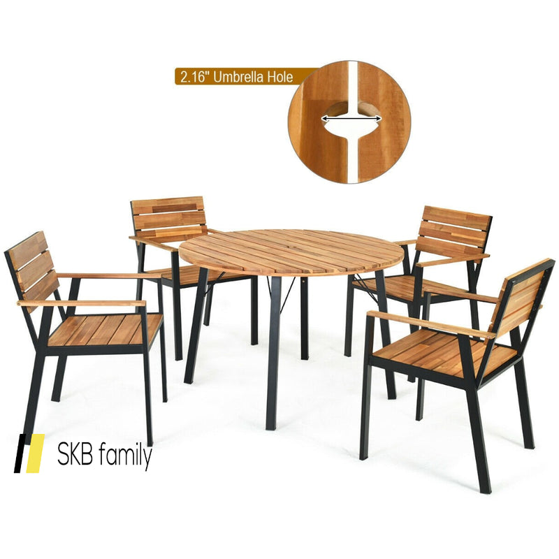5 Pcs Patio Dining Chair Set With Umbrella Hole 200815-23062