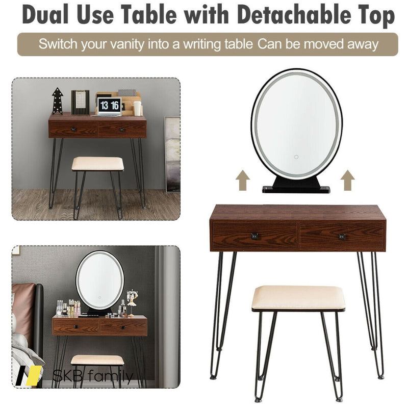Industrial Makeup Dressing Table With 3 Lighting Modes 200815-23066