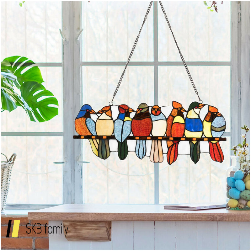 "22.5"" Tiffany Glass Window Panel 8 Birds Hanging With Chain 200815-23079"