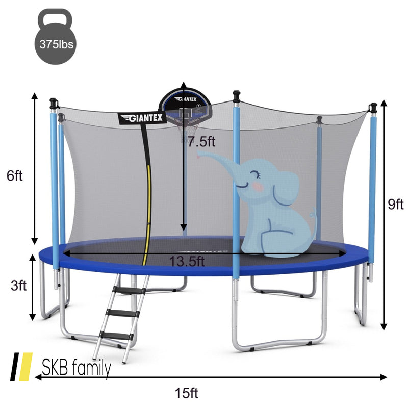 15 Ft Trampoline Combo Bounce Jump Safety Enclosure Net 200815-23096