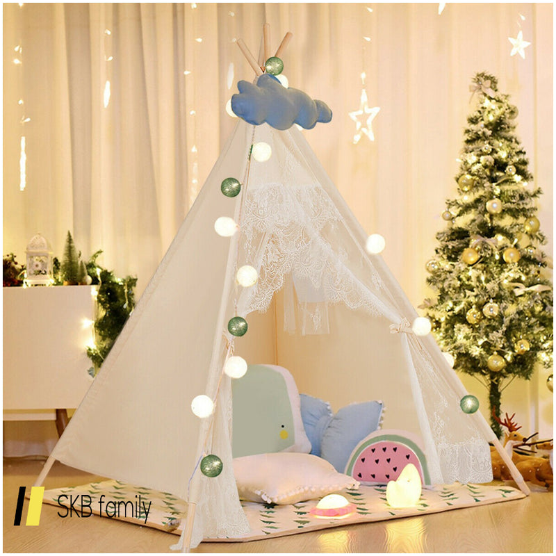 Kids Lace Teepee Tent Folding Children Playhouse W/Bag 200815-23116