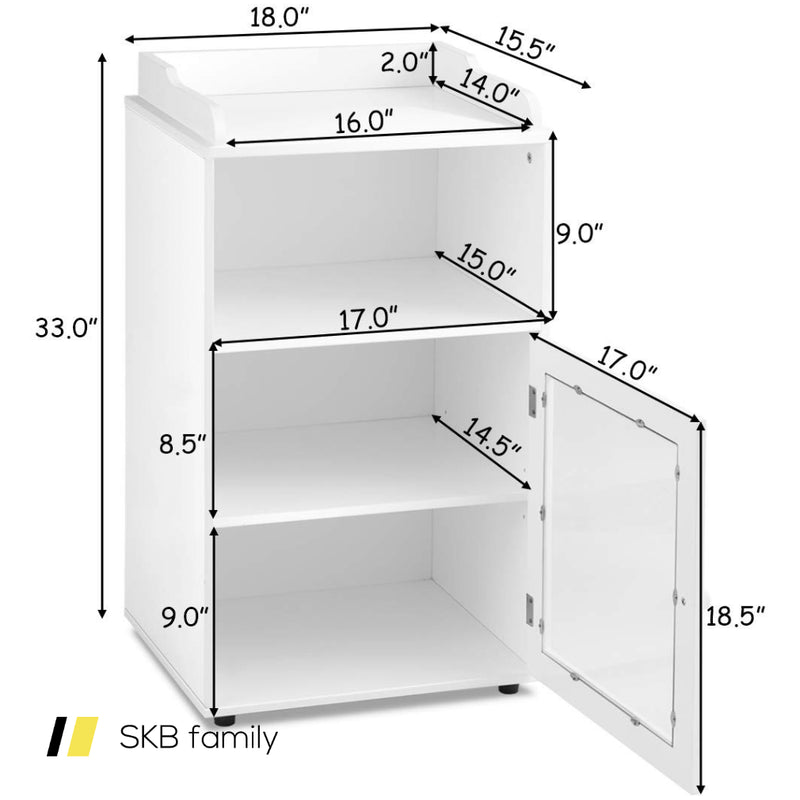 Bathroom Adjustable Floor Storage Cabinet Shelf With Door 200815-23130