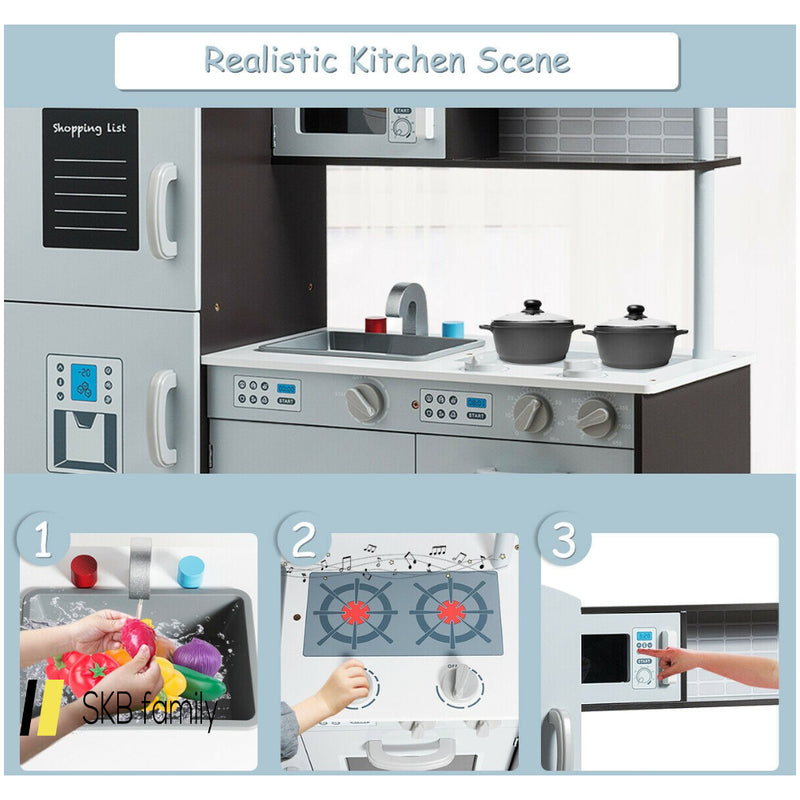 Kids Pretend Play Kitchen Cooking Set With Simulated Sound 200815-23217