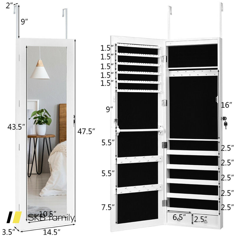 Wall Mounted Lockable Mirror Jewelry Cabinet With Led Light 200815-23223