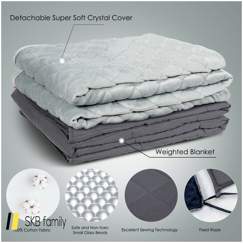 15 Lbs 100% Cotton Weighted Blanket With Soft Crystal Cover 200815-23234