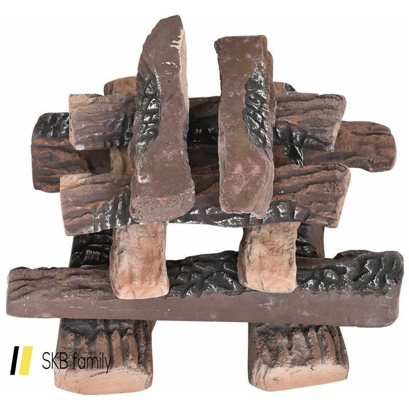 10 Pcs Ceramic Propane Fireplace Imitation Wood 200815-23248