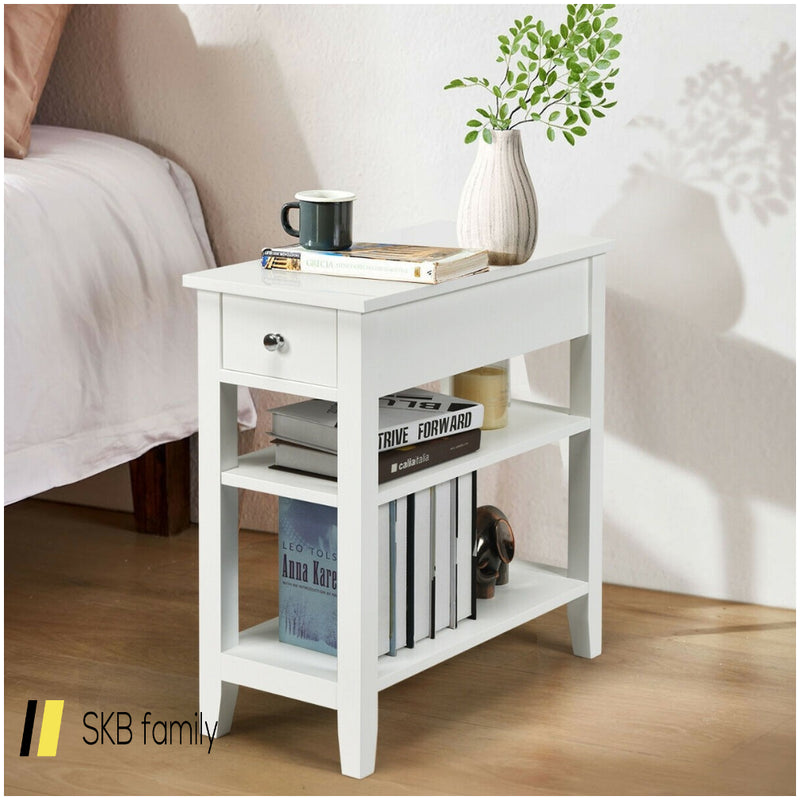 3-Tier Nightstand Bedside Table Sofa Side With Double Shelves Drawer 200815-23250