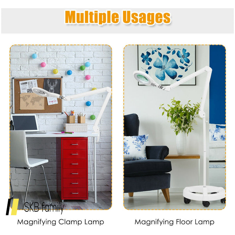 2-In-1 Led Magnifying Glass Floor Lamp With Rolling Wheel 200815-23255