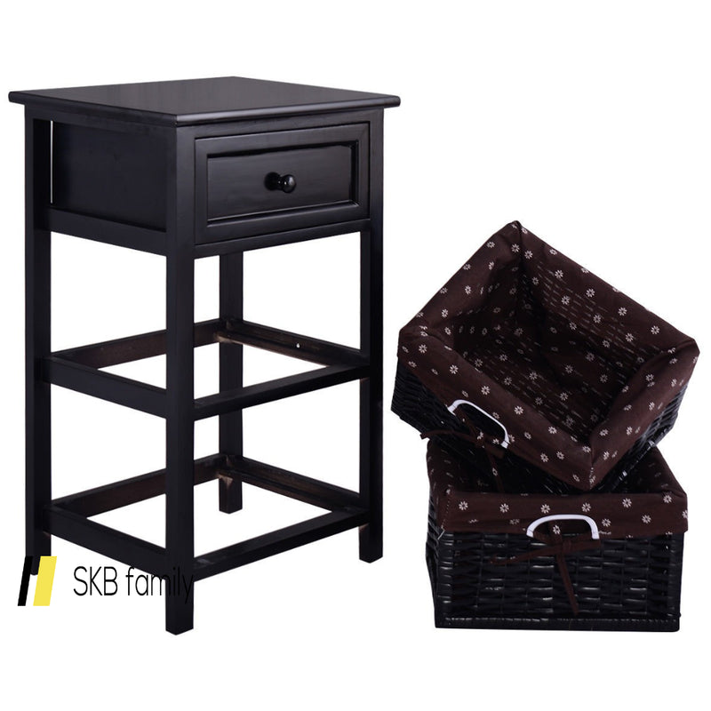 3 Tiers Wooden Storage Nightstand With 2 Baskets And 1 Drawer 200815-23264