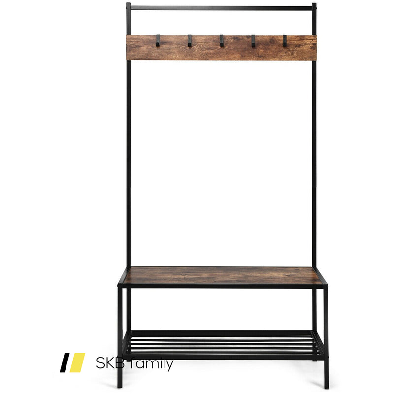 3 In 1 Industrial Coat Rack With 2-Tier Storage Bench And 5 Hooks 200815-23265
