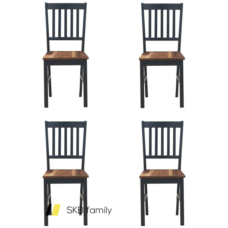 Set Of 4 Dining Chair Spindle Back Wooden Legs 200815-23266