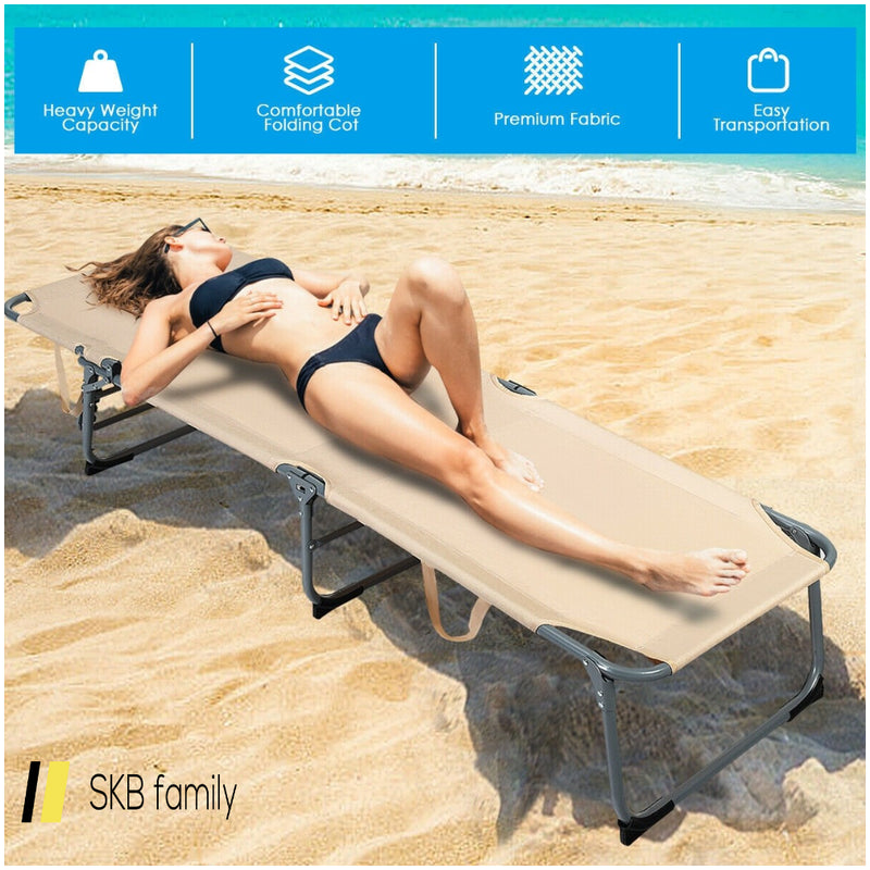 Folding Chaise Lounge Chair Bed Adjustable Outdoor Patio Beach 200815-23270