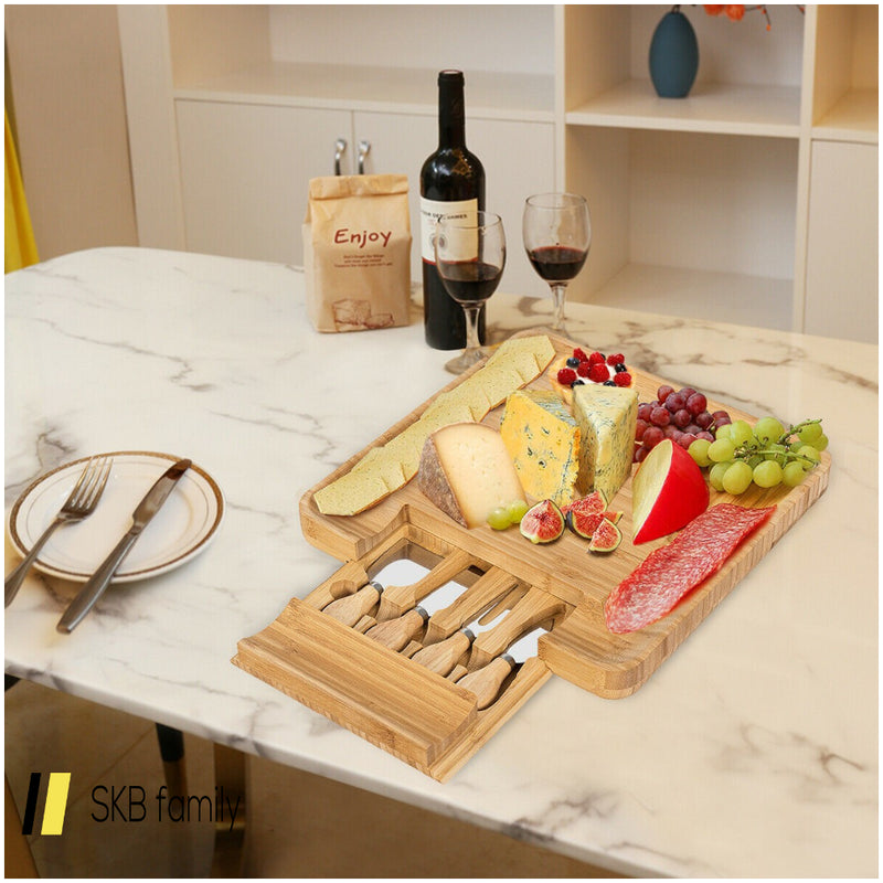 Bamboo Cheese Board & Knife Set W/ Slide-Out Drawer 200815-23289