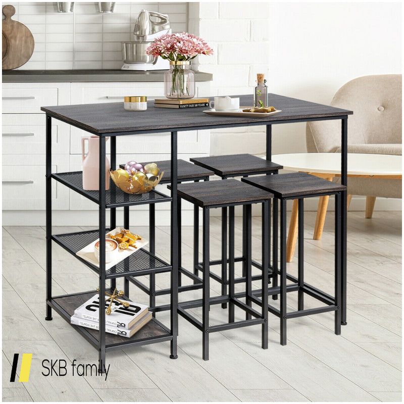 Industrial Dining Bar Pub Table With Metal Frame & Storage Shelves 200815-23290